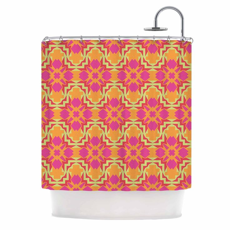 Kess InHouse Miranda Mol Jazzy Orange Pink Shower Curtain