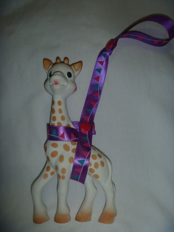 Purple Bunting Sophie the Giraffe Leash/Toy Saver Strap