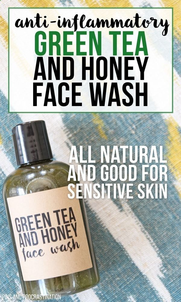Green tea is amazing for your skin. That's what makes this all natural DIY face wash so great. It is perfect for people with sensitive skin, and it is naturally anti-inflammatory. And unlike a lot of homemade face washes, it actually has some foaming action. The green tea can reduce the appearance of pores and make your skin look fresh and young! Honey makes it a great moisturizing and gentle face wash for sensitive skin. And you wont believe how easy it is to make!
