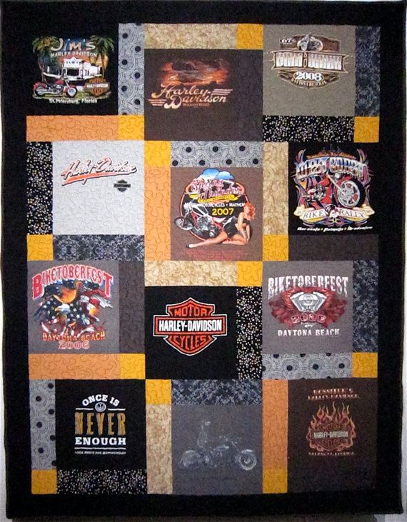Harley Davidson T Shirt Quilt One of a Kind Florida by TwoMadFish, $240.00