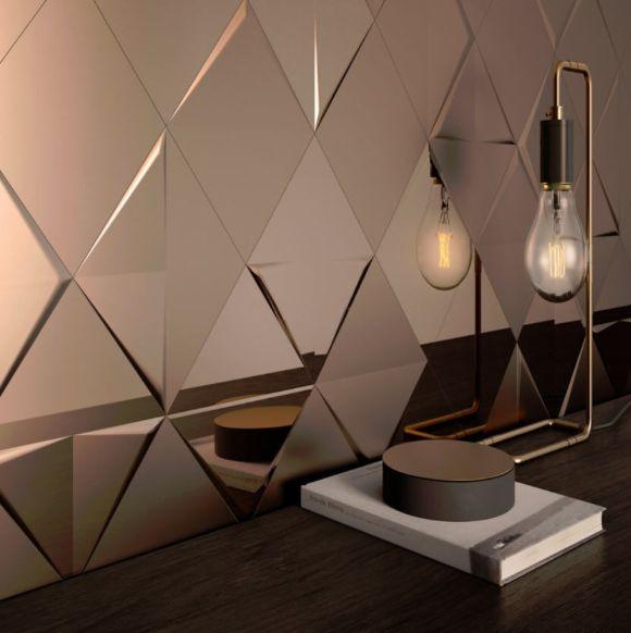mon mur en cuivre version carrelage géométrique à relief - Le blog deco de MLC