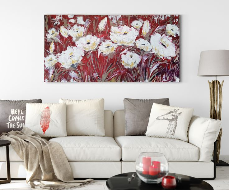 """Large Palette Knife Art 24"""" x 48"""" x .75""""  This field of white poppies creates for a beautiful Idyllic scene on a summer day. Though white poppies are a symbol of peace, the artwork is titled Fiery Fields because of the flaming red hues backing the poppies making them radiant. https://www.etsy.com/ca/listing/472892756/palette-knife-original-artwork-textured?ref=shop_home_feat_2"""