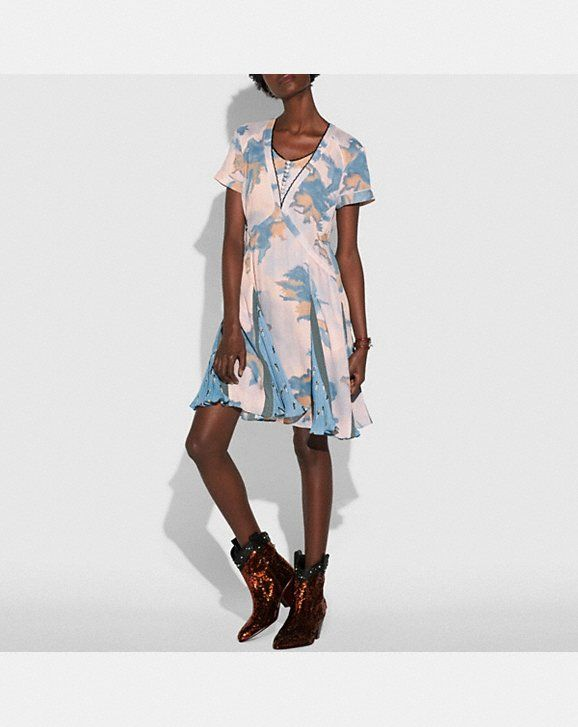 03281b6f9a Coach Dreamy Floral Print Pleated Dress