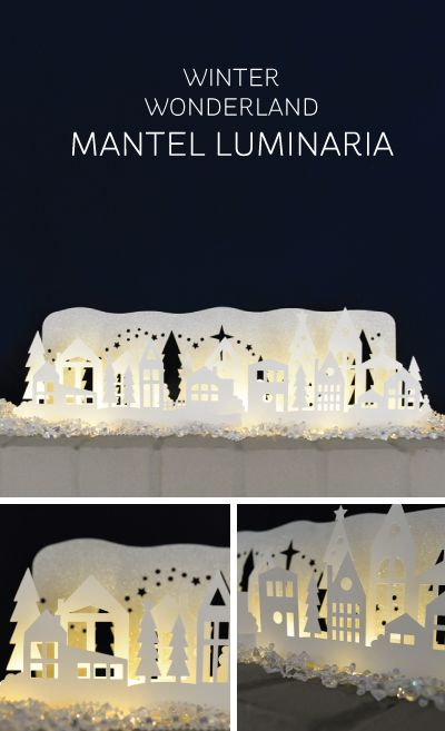 Winter Wonderland Mantel Luminaria made with the Cricut Explore -- Let's Eat Grandpa. #DesignSpaceStar Round 4