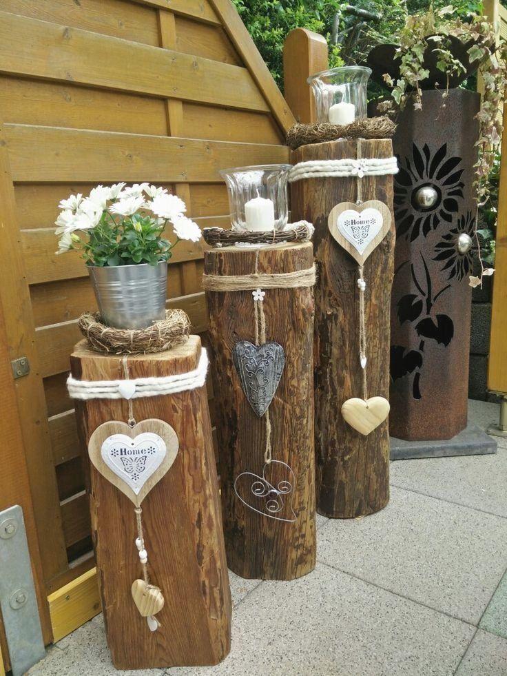 Dekorideen Holzbalken Deko Garten Gartendeko Gartendesign Gartenideen In 2020 Garden Deco Farmhouse Christmas Decor Garden Crafts