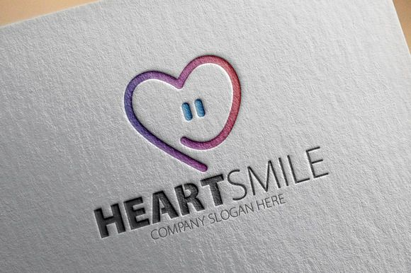 CreativeMarket Heart Smile Logo 176214