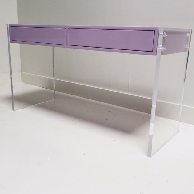Cool desk with clear acrylic legs. #acrylic #regalplastics #customfurniture