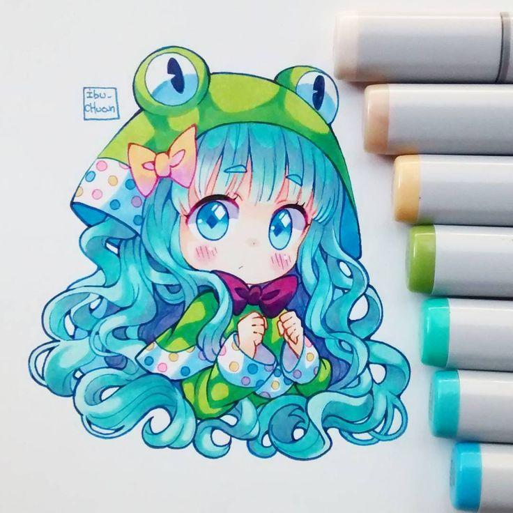 Hola a todos! Pocos recordarán está ranita es de los primeros personajes que subí a Instagram úvu #copicmarkers #copicsketch #copicmultiliner #froggy #oc #originalcharacter #kawaii #cute #chibi #kemonomimi