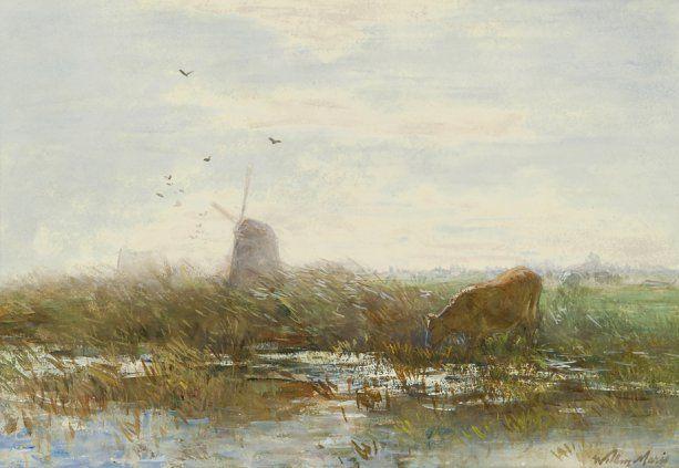 Виллем Марис | 1844 - 1910 - Коровы на польдерных пейзаж с ветряными мельницами