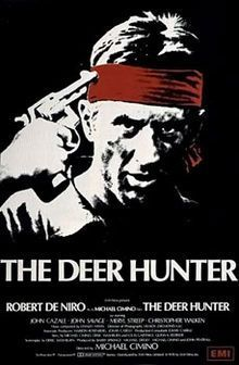 The Deer Hunter.  1978.  One of USAA's best military movies ever made.  I've seen this one a few times & really liked it.  The theatrical poster features Robert De Niro pointing a gun to his head. It is a black and white image with red highlighting his bandana and the film credits below.