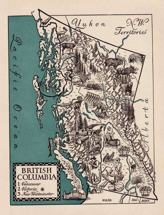 Columbia Canada Map.Pictorial Vintage British Columbia Map Of British Columbia Canada