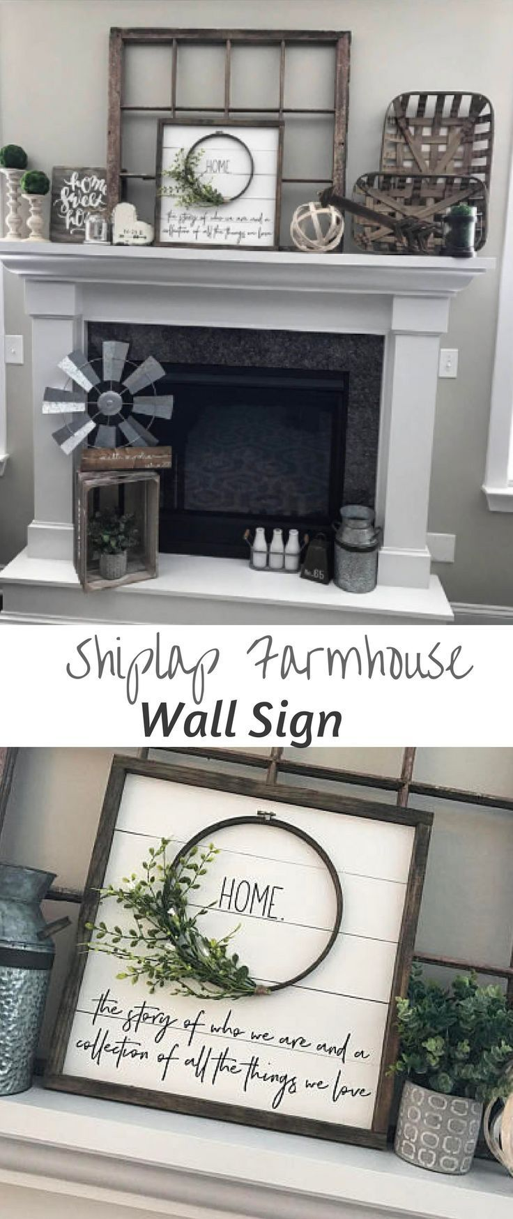 Beautiful Farmhouse Style Framed Shiplap Wreath HOME sign.This is a great added touch for any farmhouse, rustic style home decorating. #farmhouse #dec…
