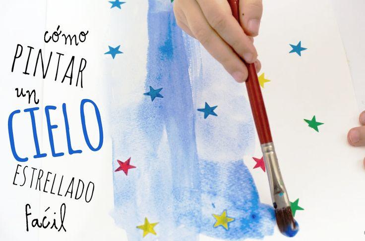 #AprenderaPintar con niños de #Preescolar es fácil, con esta técnica en #Acuarela pintarán un cielo estrellado