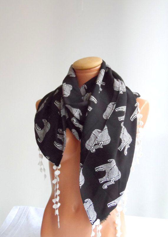 Elephant scarf Elephant print  scarf Lace tassel  scarf by Ellde