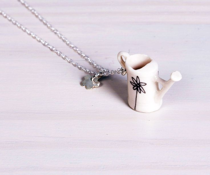 "Boop Design jewellery - ""Mary Mary"" porcelain watering can and silver flower necklace (detail)"