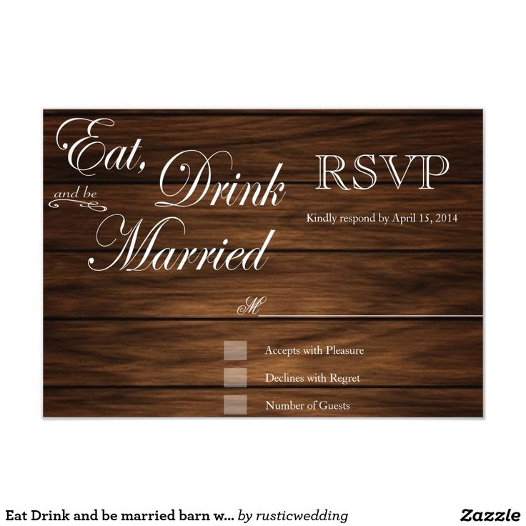 creative wedding response cards%0A Eat Drink and be married barn wood rsvp cards