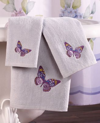 Lilac Butterflies 3-pc. Bathroom Towel Set from Collections Etc.