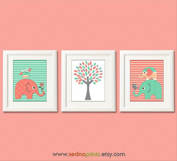 Mint and coral nursery art print set 5x7 baby boy room for 5x7 room design