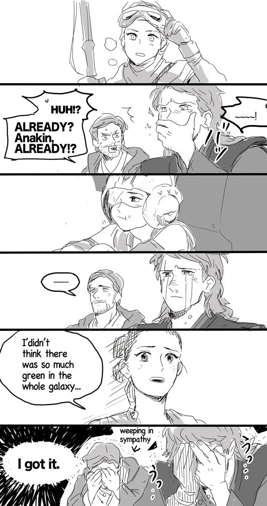 Anakin and Obi-Wan's reactions to Rey. This was me and my brother in theaters.