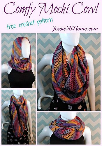 colorful crochet cowl