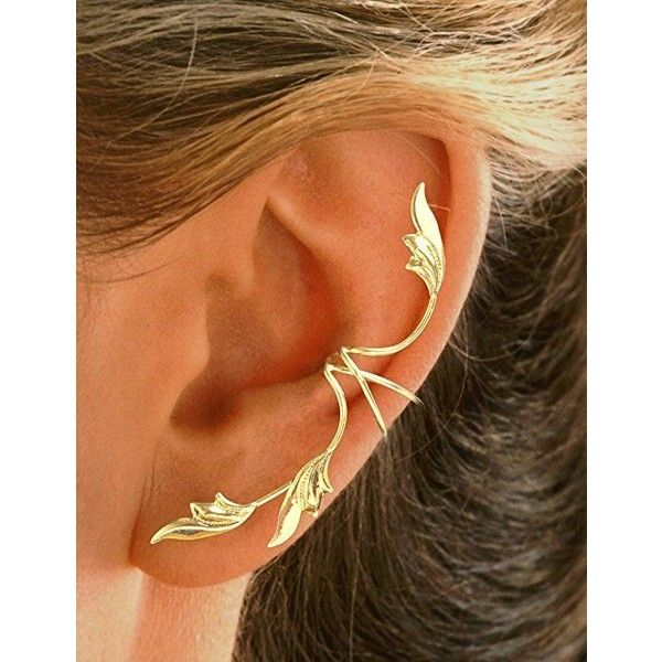 Now, Let's Not Ignore Belle's Fabulous Ear Cuff ❤ liked on Polyvore featuring jewelry, gold jewelry, ear cuff jewelry, gold ear cuff, gold jewellery and yellow gold jewelry