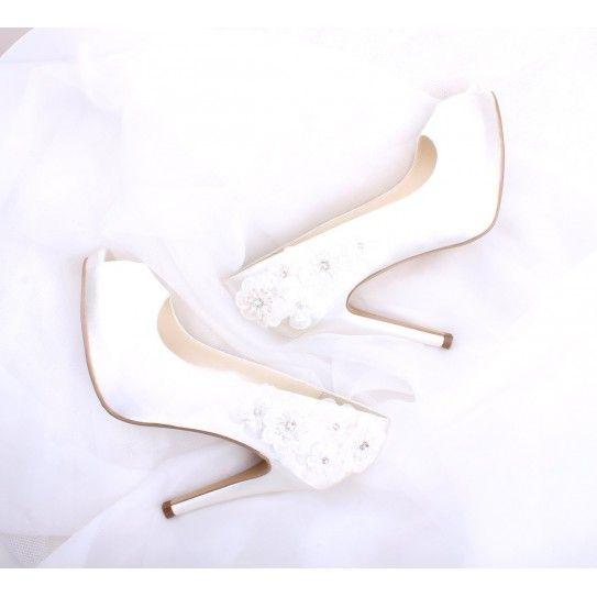 Chaussures de Mariée Ivoire Détail de jolies petites fleurs - Strass satin - Escarpins Talons  - Accessoires Mariage Cérémonie