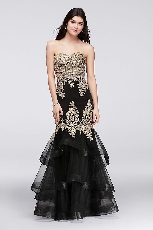 e3edc32d7d Embroidered Mermaid Prom Dress with Tiered Skirt