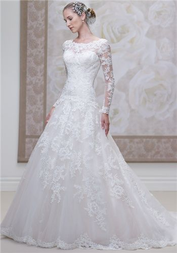 Lace and Tulle ball gown with lace sleeves // J11455 from James Clifford Collection
