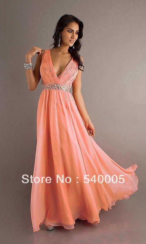 Vestidos elegantes de noche color coral