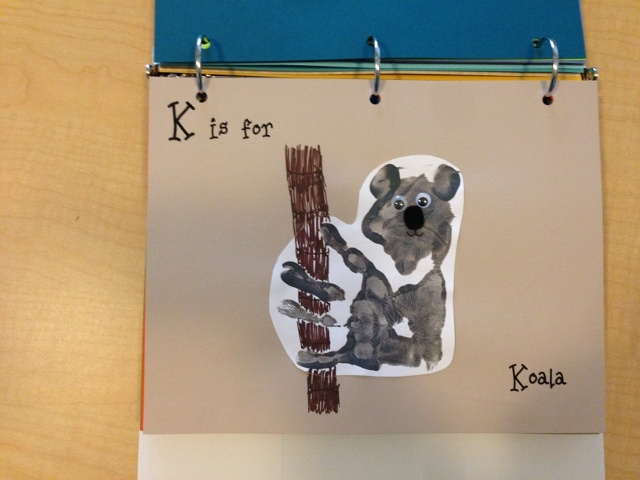 K is for Koala- to make face paint palm and not fingers, thumbprints for the ears, and felt nose and eyes