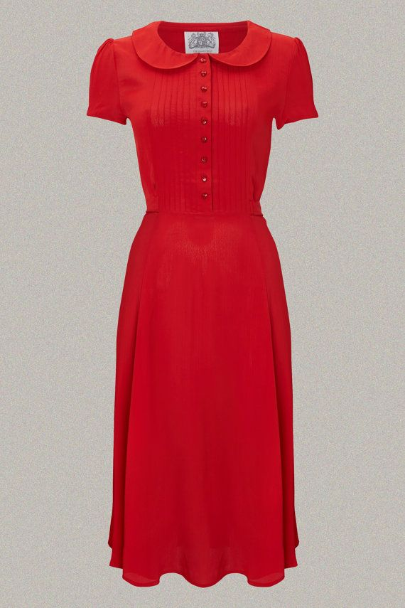 The Real And The Inspired By 1940s Fashion: Dorothy Dress In 40's Red By The Seamstress Of Bloomsbury