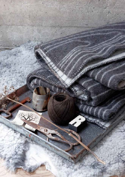 A palette of grey - teamed here with rich brown.