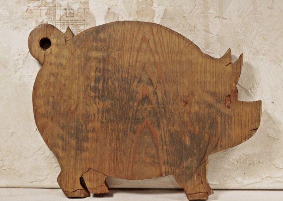 Pig Wooden Cutting Board  www.mothsandrustshop.com