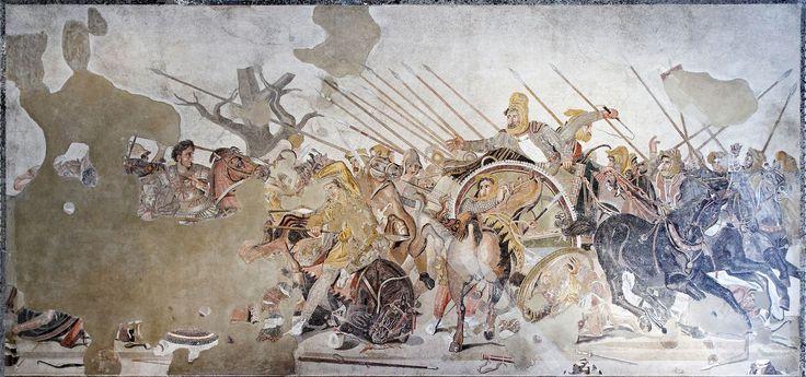 Il grande mosaico (I sec.a.C.) illustra la battaglia fra l'esercito persiano e la cavalleria macedone a Isso (333 a.C.) - Il disegno originale pare risalga secondo Plinio il Vecchio al pittore Philoxenos di Eretria - Dall'esedra della casa del Fauno di Pompei ora al Museo Arc.Naz.Napoli