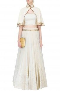Vanilla Color Embroidered Cape Jacket With Top And Tulle Skirt