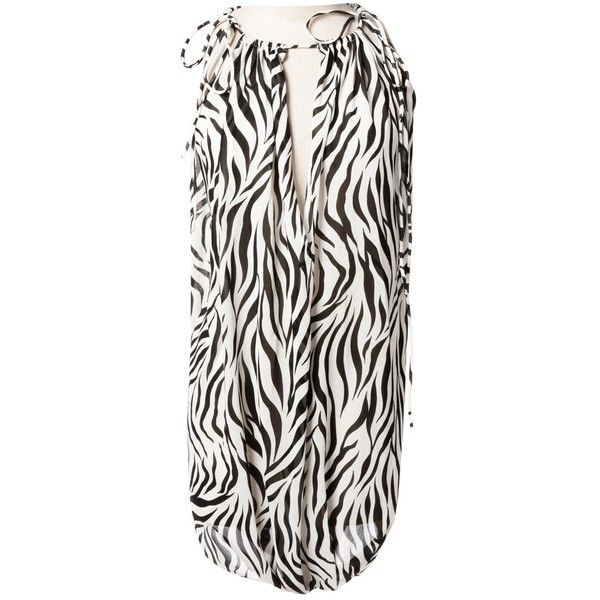 Pre-owned Maison Martin Margiela Dress (520 AUD) ❤ liked on Polyvore featuring dresses, black, women clothing dresses, pre owned dresses, zebra dresses, zebra stripe dress, maison margiela dress and zebra print dresses