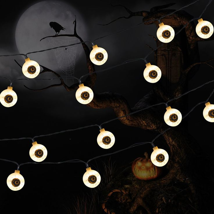 halloween luces solares weird skeleton, eye, bat shape 10/20/30 LED outdoor decoration backyard party lights bettery led festa #Affiliate