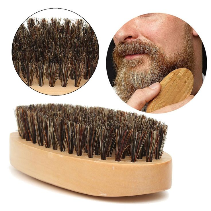 Mustache Beard Brush Natural Boar Bristle Round Handle Men's Face Message Facial Hair Beard Comb Shaving Badger Brushes