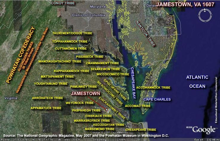 Native American tribes living around Jamestown Fort. 1607