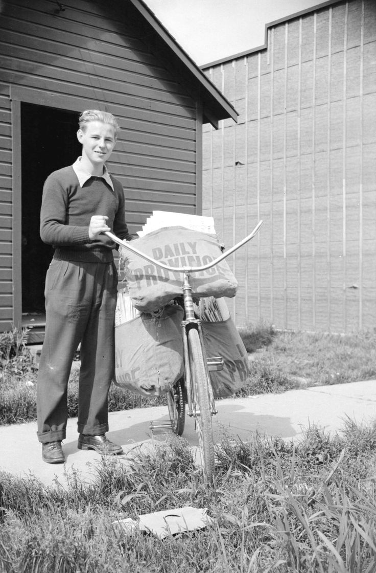 newspaper delivery boy with bicycle