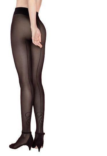 Collant sexy couture noir motif femme Fiore Cosmopolitan 40 Den haute qualité