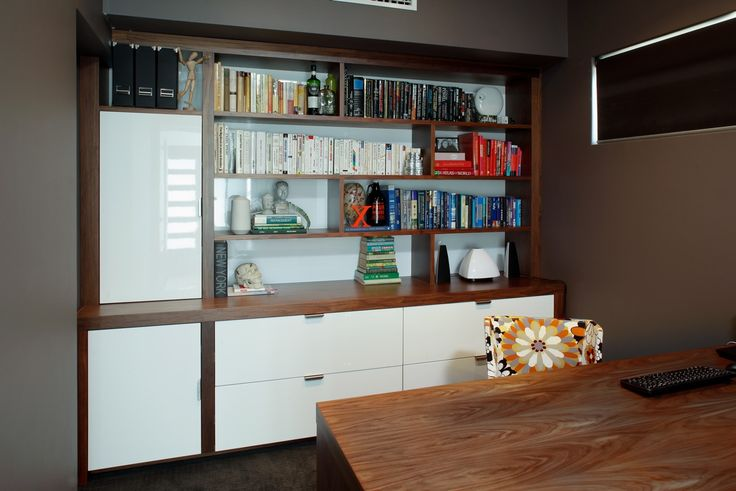 Home Office Bookcase/Side Board Cabinet. This American Walnut/White Gloss bookcase cabinet can be custom made to suit your space. It's the perfect feature for your study!