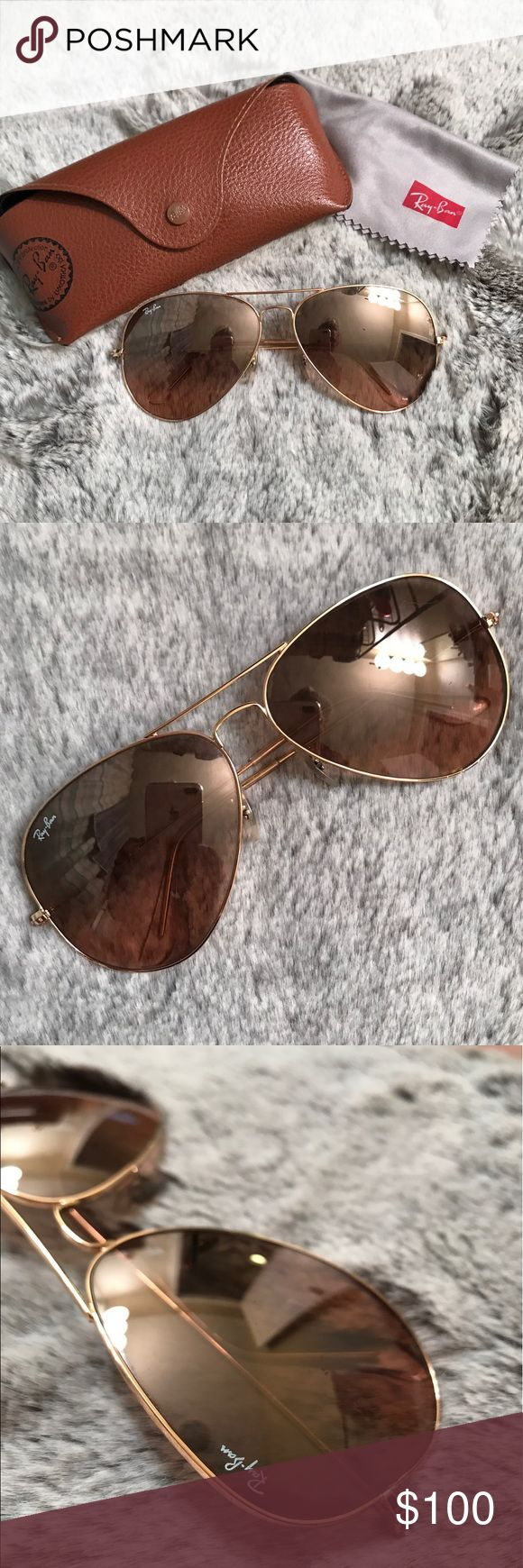 Ray-ban Large Aviator Sunglasses Used. Lenses have scratches on them. These are the 58 mm sized aviators. 100% authentic, purchased from Nordstroms. Comes with case and rag. Ray-Ban Accessories Sunglasses