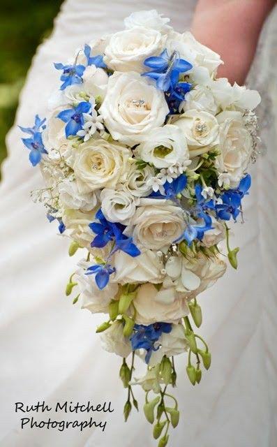 Absolutely Lovely Teardrop/Cascade Bridal Bouquet Showcasing: White Roses, White Lisianthus, White Bouvardia, White Dendrobium Orchids + Buds & Blue Delphinium