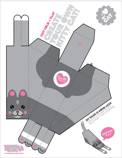 custom paper toy kitty by thecuteinstitute, via Flickr