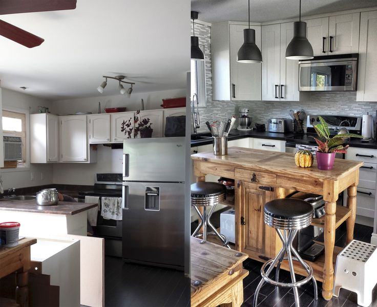 Before, after kitchen. Ikea cabinets.