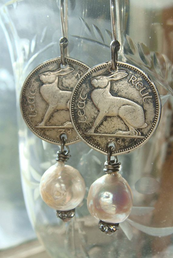 Vintage Coin Earrings 1965 Vintage Coins Irish by CobwebPalace, $32.00