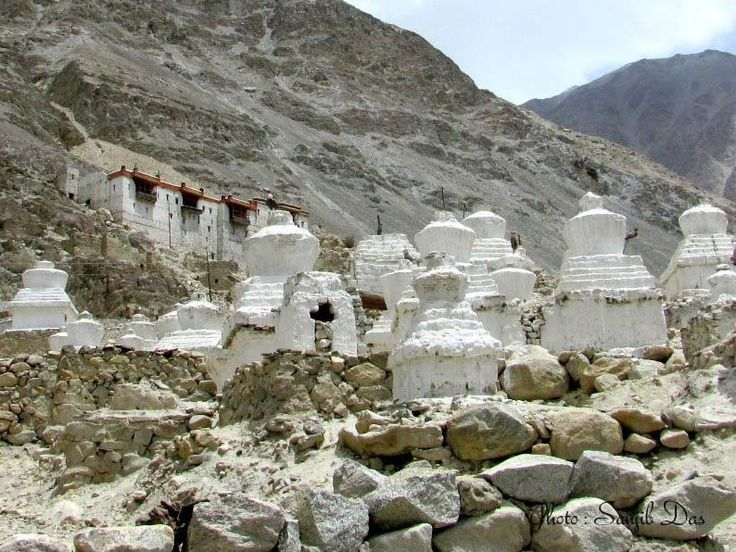 Buddhist Stone Chortens Album: Ladakh - The Forbidden Wilderness Photo Credit: Sanjib Das  Ladakh means the land of high passes, lies at an altitude from 9000 ft to 25170 feet, a region of India in the state of Jammu and Kashmir. In May, 2012 Sanjib Das with a team of five members went to this lunar land and were simply amazed throughout the trip. In this photo album you can feel the splendid view of majestic Wild Ladakh, land, people and their culture.