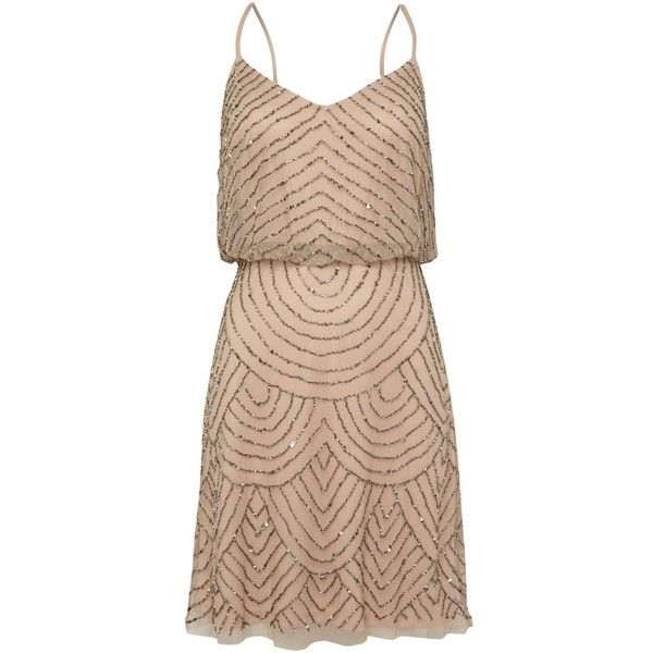 Adrianna Papell Art deco beaded short dress featuring polyvore, fashion, clothing, dresses, taupe, women, art deco beaded dress, beige cocktail dress, v neck shift dress, shift dress and sleeveless shift dress