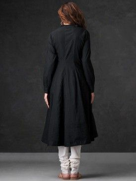 Black Pleated Cotton Mul Angrakha Kurta by Jaypore